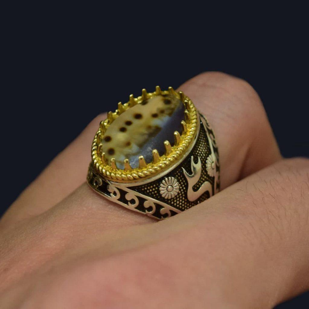 انگشتر صدف نقره مردانه یا علی