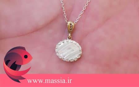 خرید گردنبند دخترانه اسپرت نقره زنانه زیورآلات صدفی ماسیا