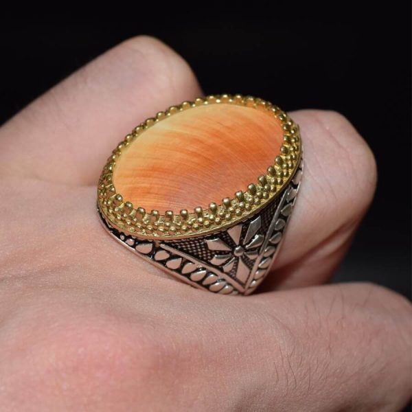 انگشتر صدفی نقره لوکس