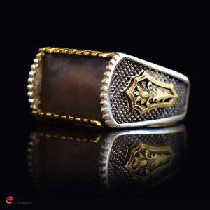 انگشتر نقره مردانه عیار 925 سنگ صدف مدل کاناریا