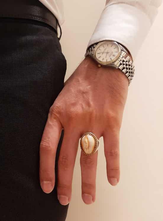 انگشتر نقره صدف مردانه ماسیا